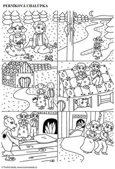 Perníková chaloupka Fairy Tale Activities, Language Activities, Spring Activities, Fun Activities For Kids, Coloring Books, Coloring Pages, Snap Words, Hansel Y Gretel, Sequencing Cards