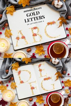 Orange Blush florals alphabet, Gold foil alphabet and flower Floral Letters, Gold Letters, Monogram Letters, Orange Blush, Graphic Illustration, Illustrations, Fall Flowers, Autumn Wedding, Journal Cards