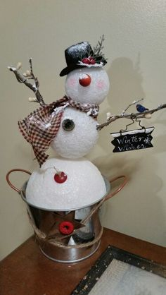 Country snowman with bird friend Christmas Red Truck, Christmas Mix, Christmas Crafts For Kids, Xmas Crafts, Christmas Snowman, Christmas Projects, Christmas Decorations, Christmas Ornaments, Holiday Decor