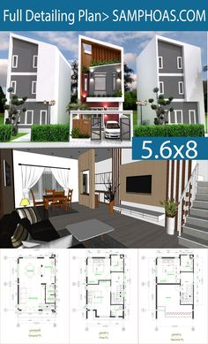 Modern House Plans x 8 Meter with Interior - SamPhoas Plan Town House Plans, Narrow Lot House Plans, House Layout Plans, Duplex House Plans, House Floor Plans, Free House Design, 3 Storey House Design, Small House Design, Modern House Design