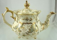 Berry Gold Rococo Tea Pot by Rockingham Works Brameld Pottery 1830'S