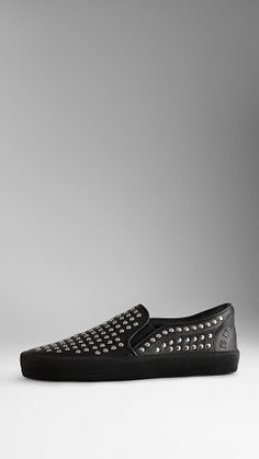 Burberry - Studded Leather Slip-On Trainers