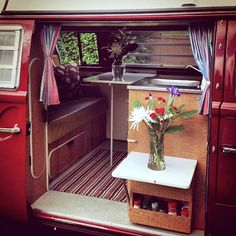This is a vanagon but shows clever detail on cabinet to use when dining outside (need space indoors for outdoor table  chairs.)