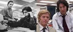 """Carl Bernstein & Bob Woodward, legendary journalists who helped expose the Watergate scandal which led to the impeachment of President Richard Nixon.  Dustin Hoffman and Robert Redford in the film """"All the President's Men""""."""