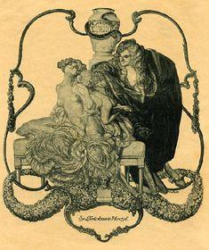 Franz von Bayros Ex Libris- 蔵書票 Bayros Room  バイロスの部屋 Room 1913 Female Body Art, Female Poses, Illustrations And Posters, Erotic Art, Black And Grey, Gray, Sculpting, Art Pieces, Statue