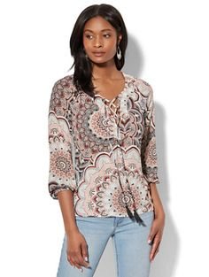 Shop Lace-Up Peasant Blouse - Paisley Print. Find your perfect size online at the best price at New York & Company.