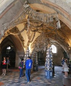 Inside view of the Sedlec Ossuary Bone Church in Kutna Hora, Czech Republic