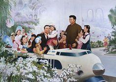 Kim Il Sung and Kim Jong Il on a propaganda poster, May 10, 2010, in Pyonyang, North Korea. (Eric Laffourgue/Gamma-Rapho)