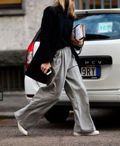 wide leg pants and trainers