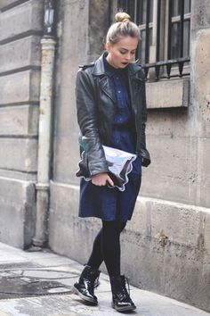 Black-shiny-dr-martens-boots-navy-denim-prada-dress