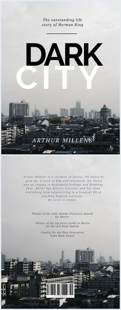 This city skyline book is perfect for thriller, horror, mystery novels, or for a biography. Edit online with no effort.