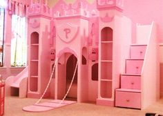 Princess Bunk Bed – If you want to make an authentic princess themed bedroom, you gonna need a castle bed. Girls Bunk Beds, Kid Beds, Girls Bedroom, Bedroom Ideas, Trendy Bedroom, Bed Ideas, Pink Bedrooms, Baby Bedroom, Bedroom Decor