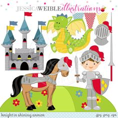 Knight in Shining Armor Cute Digital Clipart - Commercial Use OK - Castle Clipart, Dragon, Knight Clipart