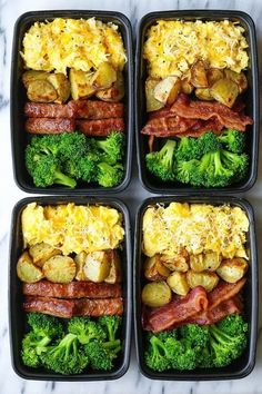 Healthy Dinner Recipes Discover Breakfast Meal Prep Breakfast Meal Prep - Now you can sleep in and eat a filling and hearty breakfast ALL WEEK LONG! Eggs bacon or sausage roasted potatoes and broccoli! Easy Healthy Meal Prep, Easy Healthy Recipes, Easy Meals, Easy Lunch Meal Prep, Simple Meal Prep, Health Food Recipes, Fit Meals, Simple Diet, Healthy Baking