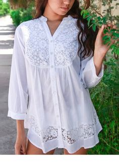 This White Lace Button-Up is perfect! This pretty piece indulges in modern, feminine style with delightful lace detailing and a flattering fit.La Moda Clothing White Lace Button-Up by La Moda Clothing - zulilyfindsTake a look at this White Lace Butto Poet Shirt, Lace Button, Fashion Beauty, Womens Fashion, Mode Style, Lace Tops, Feminine Style, Corsage, Blouse Designs