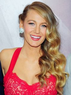Blake Lively's side-swept old Hollywood curls with red lipstick | allure.com