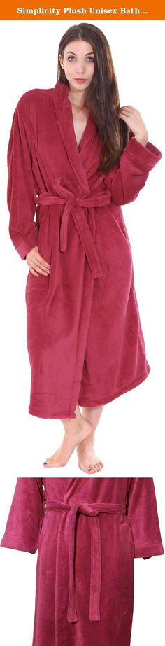 Simplicity Plush Unisex Bath Robes, Wine.