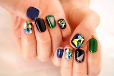 When modern art applied on manicure Nails Only, Love Nails, My Nails, Stylish Nails, Trendy Nails, Korea Nail Art, Nail Jewels, Liquid Nails, Galaxy Nails