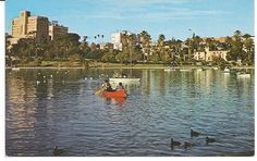 vintage Los Angeles California boating near Wilshire Boulevard