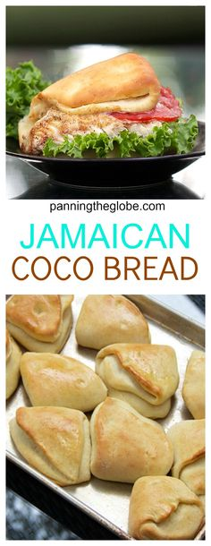 Jamaican Coco Bread this bread was invented to be the perfect sandwich bread Panning The Globe Jamaican Cuisine, Jamaican Dishes, Jamaican Recipes, Authentic Jamaican Cabbage Recipe, Jamaican Desserts, Jamaican Rice, Carribean Food, Caribbean Recipes, Gastronomia