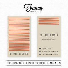 Business Card Template by FancySchmantzy on Etsy
