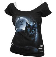 New Black Cat Moonlight 2in1 White Ripped Top