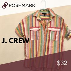j. crew candy stripe cotton linen popover used j. crew candy stripe cotton linen popover, in great condition! it is a size 2 but will easily fit a size 4, maybe even 6. boxy fit, best tucked in the front. J. Crew Tops Button Down Shirts