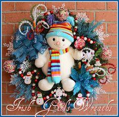 Teal Sweetie Pie Snowman Christmas Wreath by IrishGirlsWreaths