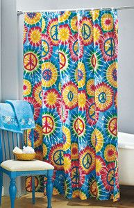 Tie Dye Shower Curtain Hippie Room Decor Hippy Room Fabric