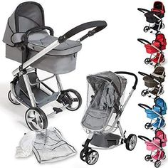TecTake 3 in 1 Pushchair Stroller Combi Stroller Buggy Baby Jogger Travel Buggy Kid's Stroller -Different Colours- (Grey) Baby Jogger, Prams And Pushchairs, Baby Strollers, Birth, Children, Baby Things, Toddlers, Babies, Riding Habit