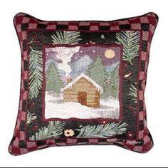 "Log Cabin Plaid Border Theme Decorative Christmas Throw Pillow 17"" x 17"""