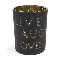 Portavelas de vidrio negro/dorado Al. 13 cm LIVE LAUGHT