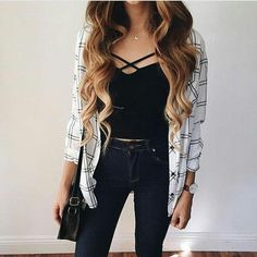 New fashion teenage outfits flannels ideas Spring Fashion Outfits, Look Fashion, Trendy Fashion, Fall Outfits, Black Outfits, Black And White Outfits For Teens, Flannel Outfits Summer, White Fashion, Outfits Primavera
