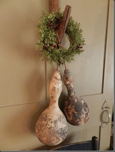 Love this- gourds and natural wreaths for Wintertime decor!