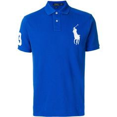 Polo Ralph Lauren Cotton Polo ($185) ❤ liked on Polyvore featuring men's fashion, men's clothing, men's shirts, men's polos, blue, mens polo shirts, mens slim fit short sleeve shirts, mens embroidered shirts, mens long sleeve shirts and mens short sleeve polo shirts