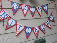 Happy Birthday Pennant Banner Primary Colors. Etsy.com