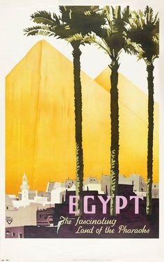Vintage Travel Poster Egypt Land of the Pharaohs on 8x13 PopMount Ready to Hang