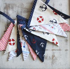 Nautical Bunting banner Fabric bunting by MiracleInspiration