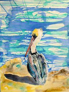 "Pelican Art ""Baby Pelican Sunrise"" by artist Jen Callahan ©2013"