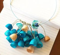 necklace - silk cocoons on wire