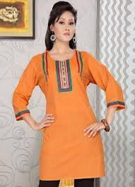 #Kurti #Style- #Orange Available at our store Be the icon in a simple style with these absolutely 'too good ones' #casuals #shopping #femalewears #dresses #indianstyle #FConnexions