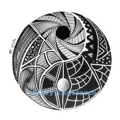 Yin & Yang Zentangle Original Hand Drawn by ZentangleEmporium