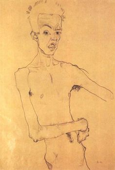 "Egon Schiele self-portrait drawing, 1910. From ""100 Self-Portrait Drawings from 1484 to Today"""