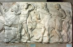 """Gemma thought taking the boys to the British Museum to see the Elgin Marbles would be an educational experience. She was wrong, of course. (""""Elgin Marbles: detail of a frieze from the Parthenon"""". Photograph. Encyclopædia Britannica Online. )"""