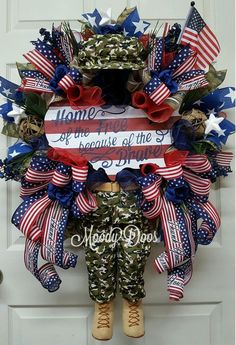 New to my shop! MoodyDoos.etsy.com Patriotic Wreath, Patriotic Decorations, 4th Of July Wreath, Patriotic Crafts, Army Wreath, Military Wreath, Holiday Wreaths, Holiday Crafts, Holiday Ideas