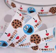 Free Shipping 5 yards 7/8 22mm I love cookies monster Printed grosgrain ribbon