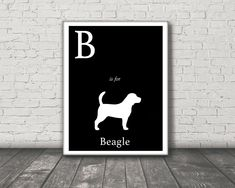 Alphabet Stretched Canvas Art - dog art - B is for Beagle Canvas Art Print - Modern Home Decor - dog silhouette art - nursery art by sophisticatedpup on Etsy