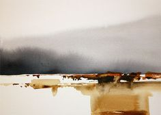 Painting, 35 x 25 cm ©2010 by Jonas Pettersson - Painting, Watercolor, Frozen horizon