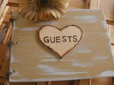 Wedding Guest Book Rustic Woodland Farmhouse Country Chic Distressed You Pick Your Color. $37.99, via Etsy.