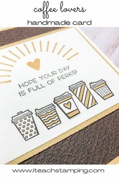 These handmade coffee cards are super easy to make and the accent color can be changed up super easily. Click through to get all the details and to see how easy it is to use this cute coffee card idea! Easy Coffee, Coffee Cards, Bullet Journal Inspo, Free Paper, Hand Coloring, Greeting Cards Handmade, Accent Colors, Super Easy, Stamping
